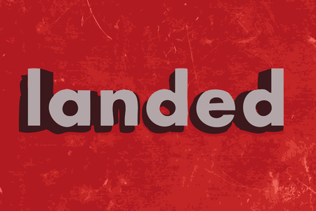 landed: landed word on red concrete wall Illustration