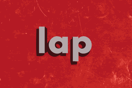 lap: lap word on red concrete wall