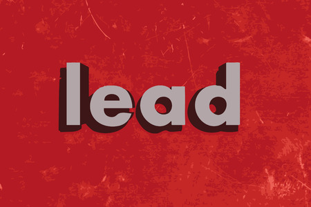 lead: lead word on red concrete wall Illustration