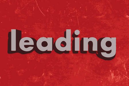 leading: leading word on red concrete wall Illustration