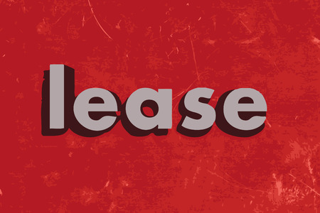 lease: lease word on red concrete wall Illustration