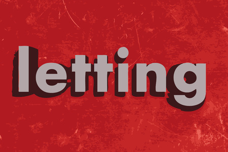 letting: letting word on red concrete wall Illustration