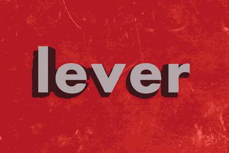 lever: lever word on red concrete wall