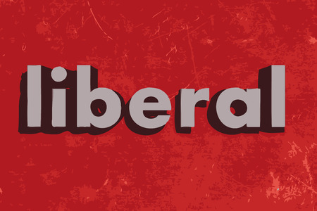 liberal: liberal word on red concrete wall Illustration