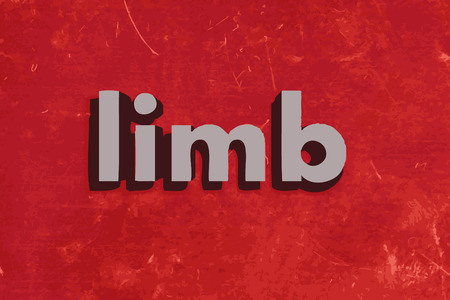 limb: limb word on red concrete wall Illustration