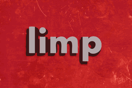 limp: limp word on red concrete wall
