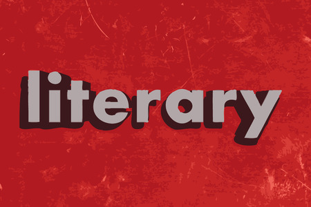 literary word on red concrete wall Illustration