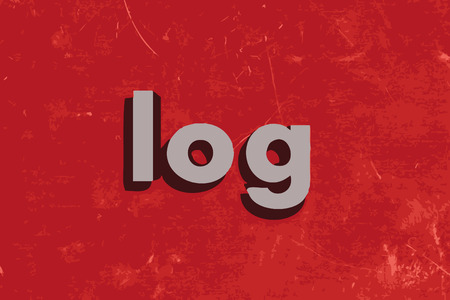 log wall: log word on red concrete wall