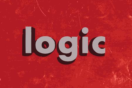 logic: logic word on red concrete wall Illustration