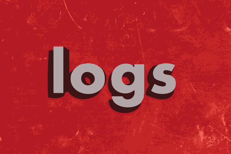 log wall: logs word on red concrete wall