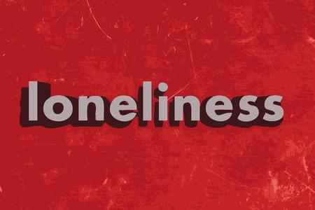 soledad: palabra soledad en rojo muro de hormig�n