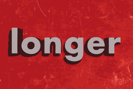 longer: longer word on red concrete wall