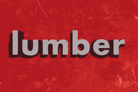 lumber: lumber word on red concrete wall