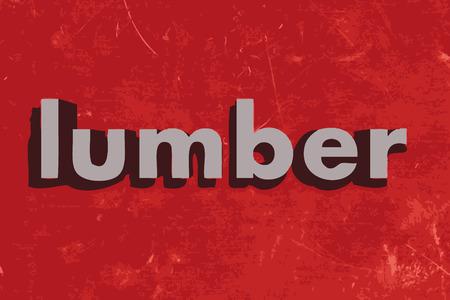 maderas: palabra madera en la pared roja de hormig�n