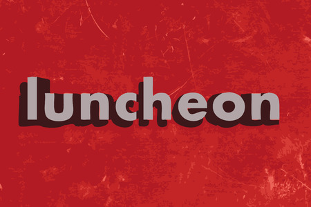 luncheon: luncheon word on red concrete wall Illustration