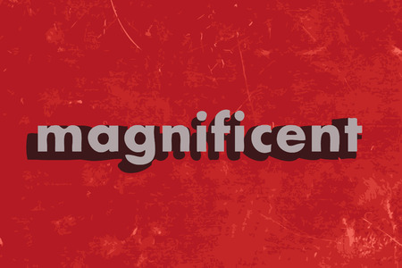 magnificent: magnificent vector word on red concrete wall