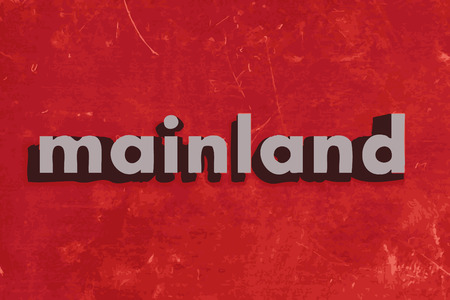 the mainland: mainland vector word on red concrete wall