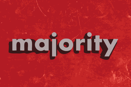 majority: majority vector word on red concrete wall Illustration