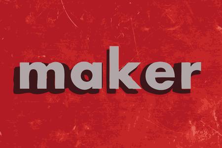 메이커: maker vector word on red concrete wall 일러스트