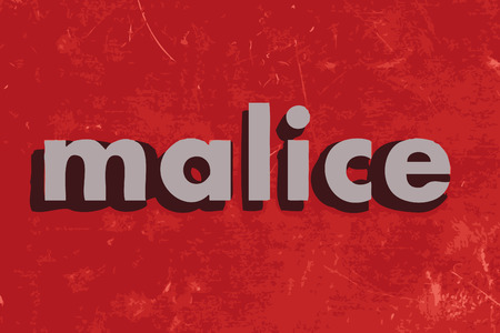 malice: malice vector word on red concrete wall