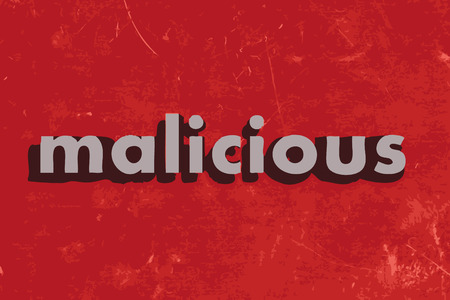 malicious: malicious vector word on red concrete wall