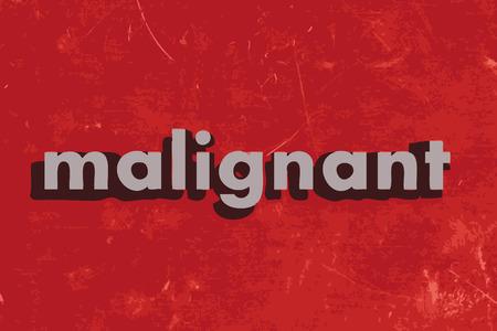 maligno: palabra vector maligno en rojo muro de hormig�n