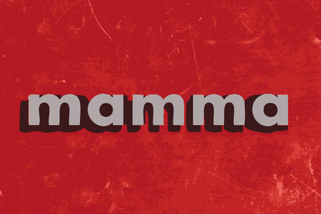 mamma: mamma vector word on red concrete wall Illustration