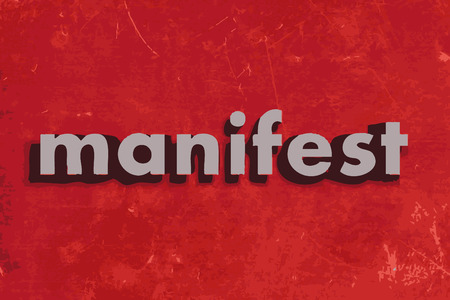 manifest: manifest vector word on red concrete wall Illustration
