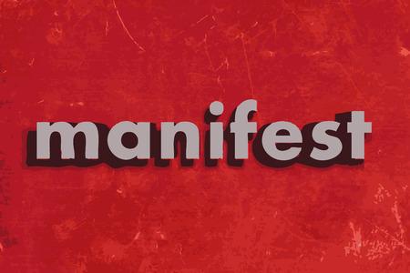 manifesto parola vettore sul muro di cemento rosso Vettoriali