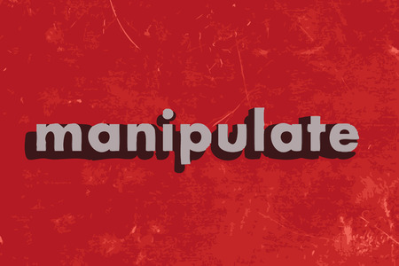 manipulate: manipulate vector word on red concrete wall Illustration
