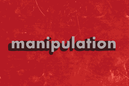 manipulate: manipulation vector word on red concrete wall