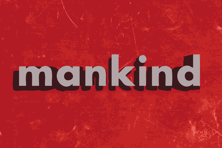 mankind: mankind vector word on red concrete wall