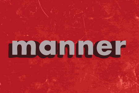manner: manner vector word on red concrete wall