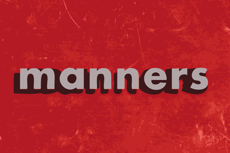 manners: manners vector word on red concrete wall