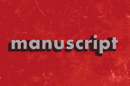 manuscript: manuscript vector word on red concrete wall