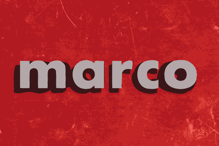 marco: marco vector word on red concrete wall