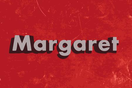 マーガレット ベクトル単語赤いコンクリートの壁に