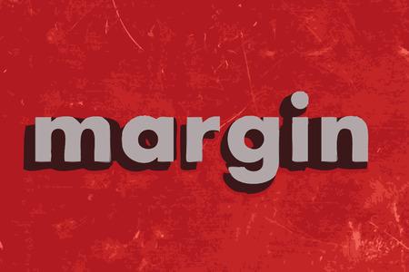 margen: palabra margen del vector en rojo muro de hormigón