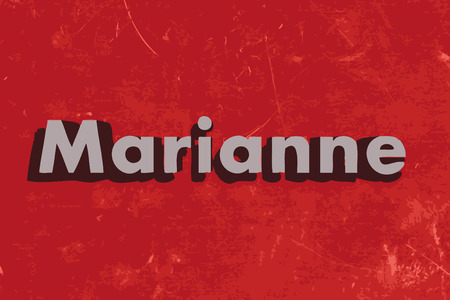 marianne: Marianne vector word on red concrete wall Illustration