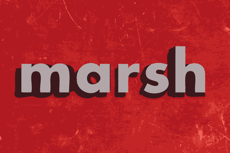 marsh: marsh vector word on red concrete wall