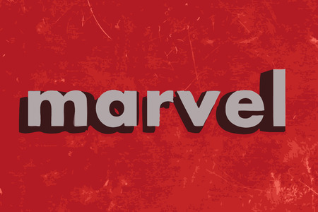 marvel: marvel vector word on red concrete wall Illustration