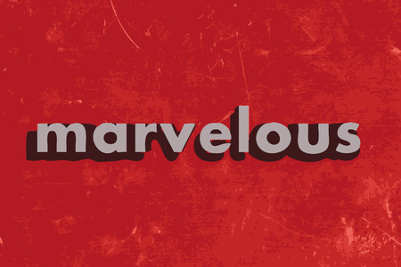 marvelous: marvelous vector word on red concrete wall