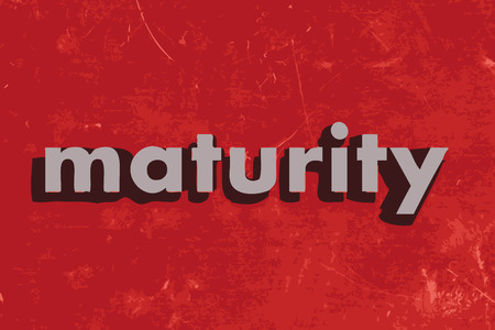 maturity: maturity vector word on red concrete wall