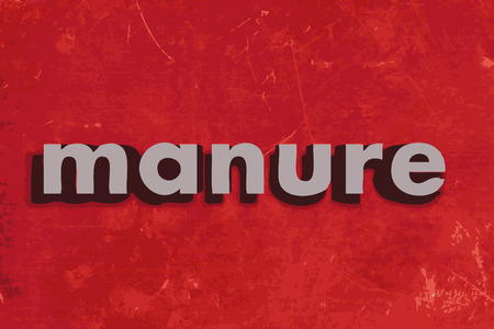 manure: manure vector word on red concrete wall