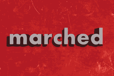marched: marched vector word on red concrete wall Illustration