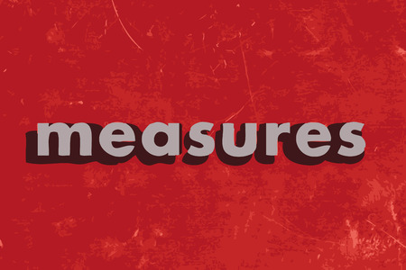 measures: measures vector word on red concrete wall Illustration
