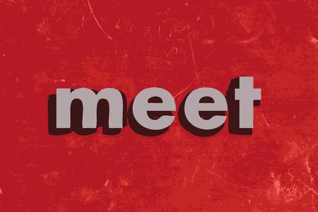 meet: meet vector word on red concrete wall