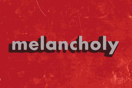melancholy: melancholie vector woord over de rode betonnen muur Stock Illustratie