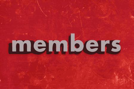 members: members vector word on red concrete wall