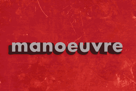 manoeuvre: manoeuvre vector word on red concrete wall